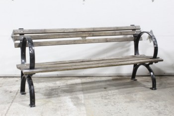 Bench, Slat Back, 6FT, CITY PARK, WOOD SLATS, CURVED CAST IRON SIDES & BOLT DOWN LEGS, WOOD, BROWN