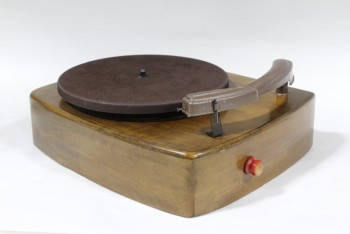 Audio, Record Player, VINTAGE, ELECTRIC, CURVED WOOD BASE, NO CORD, WOOD, BROWN