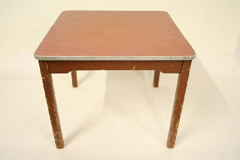 Table, Kitchen, LAMINATE TOP W/METAL EDGE, WOOD, RED