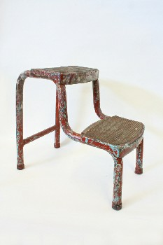 Stool, Stepstool, 2 LEVEL/STEPS, ARTIST'S/PAINTER'S W/PAINT DRIPS, METAL, RED