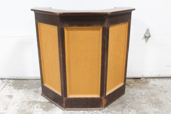 Podium, Misc, LECTERN,5-SIDED FRONT W/LIGHTER BROWN PANELS, SMALL SHELVES INSIDE, WOOD, BROWN