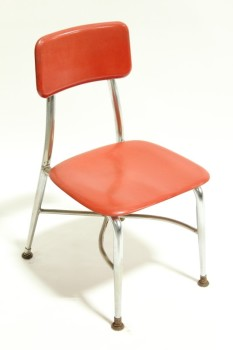 Chair, Child's, VINTAGE,SMALL,KID SIZE, PLAIN SEAT & BACK, METAL LEGS, SCHOOL/DAYCARE ETC., STACKABLE, PLASTIC, RED