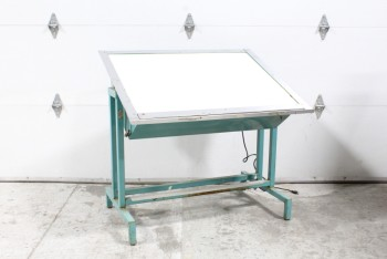 Table, Drawing, VINTAGE,DRAFTING/ARTIST'S DRAWING BOARD,ADJUSTABLE, TILTED ILLUMINATED SURFACE, BLUE METAL LEGS **This Item Is Not Allowed To Be Painted**, METAL, BLUE