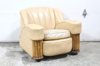 Chair, Armchair, ART DECO SHELL BACK STYLE,PADDED ARMS W/PIPING, WOOD COLUMN ARMS, AGED/VERY DISTRESSED, LEATHER, PEACH