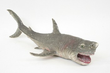 Toy, Animal, GREAT WHITE SHARK W/OPEN MOUTH, RUBBER, GREY