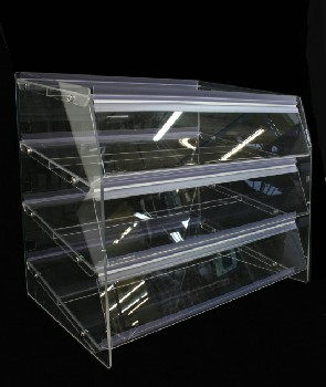 Restaurant, Display, BAKERY/CAFE/CAFETERIA/DINER COUNTERTOP CASE,3 TILTED SHELVES W/FLIP DOORS, PLEXIGLASS, CLEAR