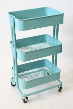 Cart, Metal, 3 LEVELS,PERFORATED TRAYS, TUBULAR FRAME, ROLLING , METAL, BLUE