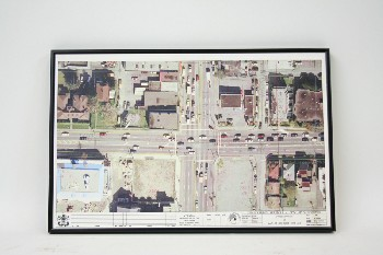 Wall Dec, Map, FRAMED AERIAL PRINT,CROSS STREETS & TRAFFIC, PAPER, MULTI-COLORED