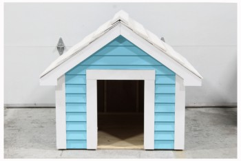 Yard, Miscellaneous, DOG HOUSE,WHITE WOOF , WOOD, BLUE