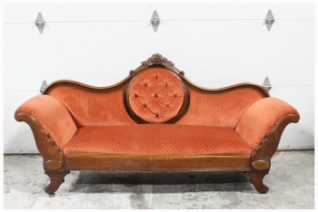 "Sofa, Three Seat, VICTORIAN STYLE SETTEE, BUTTON TUFTED ROUND SECTION ON BACK, CARVED BROWN WOOD FRAME, ROLLED ARMS, PATTERNED DARK ORANGE UPHOLSTERY, ""THE JANICE"", FABRIC, ORANGE"