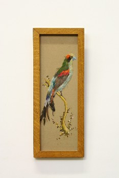 Wall Dec, Misc, CLEARABLE,BIRD W/REAL FEATHERS,RECTANGULAR FRAME, WOOD, MULTI-COLORED