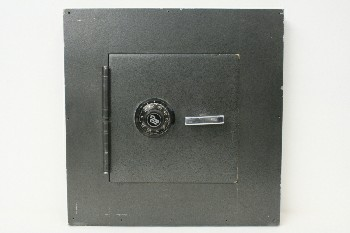 Safe, Misc, WALL SAFE PROP,HINGED DOOR W/COMBO LOCK & SILVER HANDLE, WOOD, BLACK