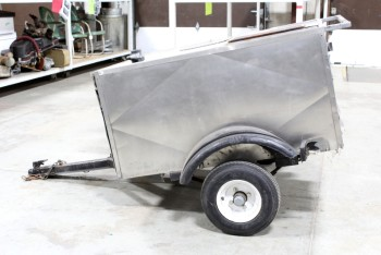 Cart, Vending , SNACK/REFRESHMENT TRAILER,HOT DOG CART, SMALL SINK,GRILL & BURNERS, HITCH ON FRONT W/REAR HANDLE, ROLLING, AGED , STAINLESS STEEL, SILVER