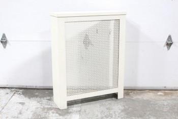 Radiator, Miscellaneous, RADIATOR COVER W/METAL MESH FRONT PANEL, BACKLESS/EMPTY, WOOD, WHITE