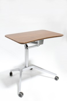 Desk, Misc, SIT OR STAND DESK,BROWN LAMINATE TOP, GREY STEEL LEGS, HEIGHT ADJUSTABLE, MOBILE WORK STATION, ROLLING, METAL, BROWN