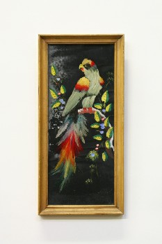 Wall Dec, Misc, CLEARABLE,BIRD W/REAL FEATHERS, LIGHT STAINED FRAME, WATER DAMAGED, WOOD, MULTI-COLORED