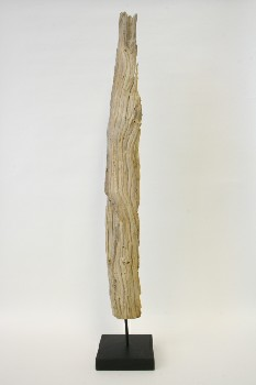 Science/Nature, Wood, VERTICAL PIECE OF DRIFTWOOD ON SQUARE BLACK BASE, WOOD, NATURAL