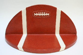 Shelf, Misc, SPORTS, FOOTBALL W/WHITE STRIPES, ANGLED, SEMI CIRCLE, LEATHER, BROWN