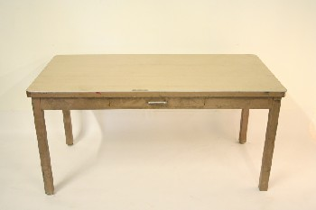 Desk, Metal, 1 DRAWER,LAMINATE TOP, DISTRESSED/AGED W/GREY PAINT (Condition & Drawer Not Exactly As Pictured) , METAL, BROWN