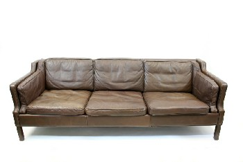 Sofa, Three Seat, MID CENTURY MODERN,LOW BACK W/STEPPED ARMS, WOOD LEGS, LEATHER, BROWN