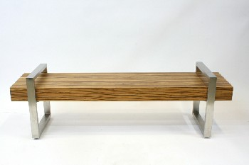 Bench, Misc, BENCH/COFFEETABLE,WOOD BEAM,OPEN SQUARE STAINLESS SIDES , WOOD, BROWN