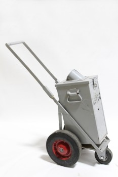 Cart, Metal, OLD STYLE PARKING METER COIN COLLECTION CART W/3 WHEELS, NO KEYS , METAL, GREY