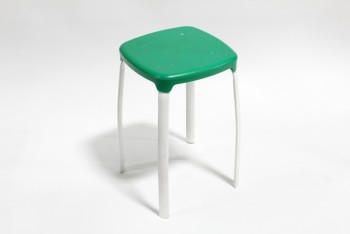 Stool, Square, GREEN PLASTIC SEAT, WHITE METAL LEGS , PLASTIC, GREEN