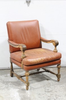 Chair, Armchair, TACK TRIM, CARVED ARMS & TURNED LEGS W/CROSS SUPPORT, DISTRESSED/AGED BROWN LEATHER SEAT, LEATHER, BROWN