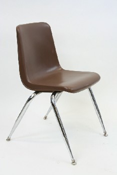 Chair, Stackable, MOLDED SEAT W/CHROME LEGS,ARMLESS , PLASTIC, BROWN