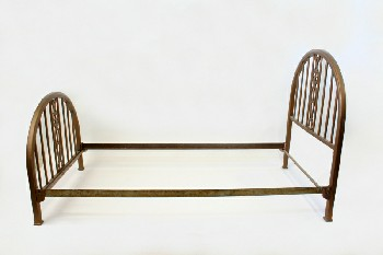 Bed, Metal, SINGLE SIZE W/TURNED POSTS,WINDSOR STYLE, HEADBOARD & 31