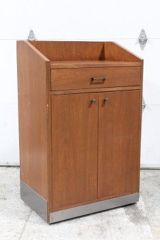 Podium, Misc, LECTERN,PLAIN FRONT,FLAT TOP, 1 DRAWER & 2 DOOR LOWER CABINET ON BACK , WOOD, BROWN