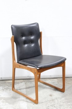 Chair, Dining, MODERN, VINTAGE DANISH, BLACK LEATHER 4 BUTTON TUFTED SEAT, BROWN WOOD TEAK FRAME, WOOD, BLACK