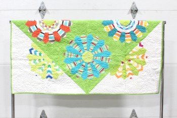 Bedding, Quilt, CLEARED, HANDMADE QUILT/WALL HANGING, FRONT IS MULTICOLOURED PATTERN ON WHITE, BACK IS BLUE PURPLE & GREEN PATTERN, FABRIC, MULTI-COLORED