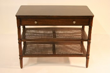Table, Misc, MAHOGANY,1 DRAWER,2 LOWER WICKER SHELVES, WOOD, BROWN