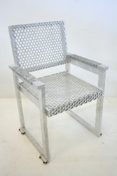 Chair, Misc, PERFORATED SEAT & BACK , METAL, SILVER