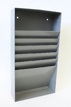 Office, Organizer, WALL FILE ORGANIZER W/ANGLED SLOTS , METAL, GREY