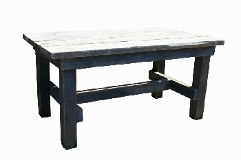 Table, Rustic, THICK SLAT TOP,LOWER STRETCHER, RUSTIC, WOOD, NATURAL