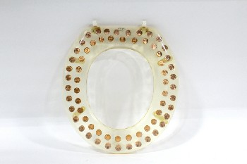 Bathroom, Misc, VINTAGE U.S. (REAL) PENNY/COIN LUCITE TOILET SEAT, OVAL BOTTOM PIECE , ACRYLIC, CLEAR