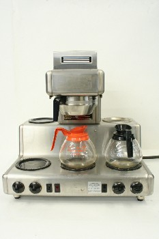 Restaurant, Appliance, COMMERCIAL COFFEEMAKER,5 WARMERS ON 2 LEVELS W/FUNNEL, CARAFES SEPARATE, STAINLESS STEEL, SILVER