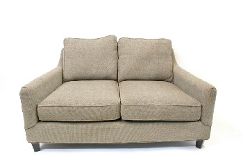 Sofa, Loveseat, CONTEMPORARY, FLARED ARMS, FOOTED, FABRIC, GREY