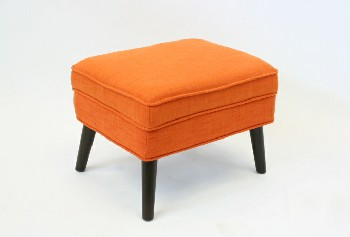 Stool, Ottoman, RECTANGULAR,PIPED CUSHION TOP & WOOD LEGS , FABRIC, ORANGE