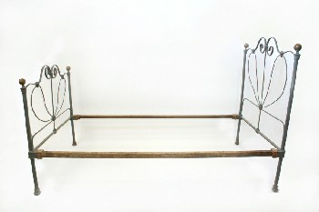 Bed, Metal, SINGLE SIZE W/RIBBON-LIKE CURLED FRAME & GOLD BALL FINIALS, HEADBOARD & 38