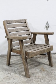 Chair, Rustic , SPACED WOOD SLATS,ARMCHAIR, SQUARED BACK, OUTDOOR/GARDEN/PATIO , WOOD, BROWN