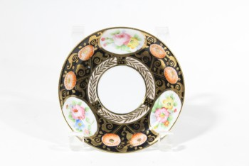 Housewares, Plate, SAUCER,GOLD/FLORAL PATTERN, CHINA, GOLD