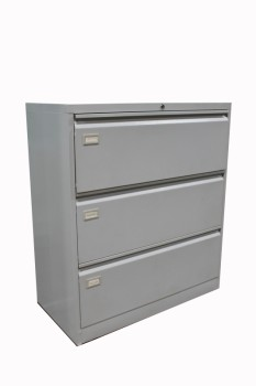 Cabinet, Filing, LIGHT COLOUR,PLAIN, OFFICE LATERAL FILES W/3 DRAWERS, METAL, GREY