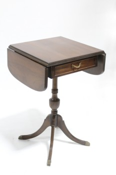 Table, Side, DROP LEAF,SINGLE DRAWER, BRASS CLAW FEET, TRADITIONAL/REGENCY STYLE, WOOD, BROWN