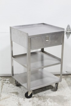 Table, Stainless Steel, EQUIPMENT / INSTRUMENT / SUPPLY CART, 1 DRAWER FRONT, LOWER SHELVES, ROLLING, STAINLESS STEEL, SILVER