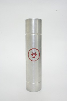 Medical, Container, LAB CYLINDER W/RED BIOHAZARD ICON,OPEN BOTTOM, STAINLESS STEEL, SILVER