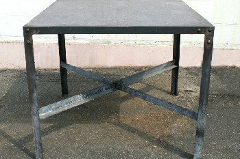 Table, Work, INDUSTRIAL,BOLTED SIDES W/LOWER CROSS BAR,SQUARE, AGED , METAL, BLACK