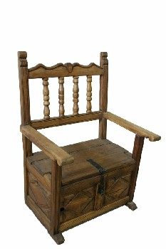Chair, Misc, BENCH/ARMCHAIR,CARVED FRONT,TURNED SPINDLES, IRON LATCH ON SEAT (OPENS TO STORAGE UNDERNEATH), WOOD, BROWN